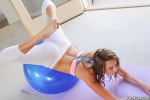 White yoga pants teen gets her hairy pussy wrecked on a fitness ball