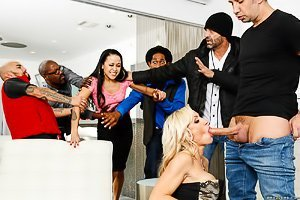 Blond-haired beauty enjoying violent sex during a crowded party