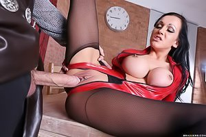 Latex-clad tatted-up brunette gets her tight pussy fucked real hard