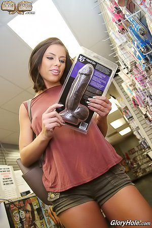 Purple panties short-haired brunette taking a ginormous BBC via glory hole