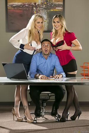 Two amazing-looking MILF sluts get fucked by some office worker