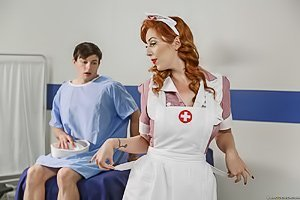 Redhead retro nurse gets brutally fucked by a hung sailor dude
