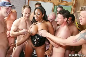 Ebony bombshell ends up getting blow banged by a bunch of white dudes