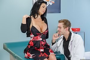 Dark-haired MILF in a dress gets fucked by her horny hung doctor