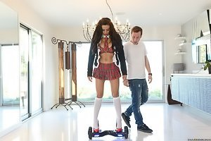 Nurse get-up brunette hoverboarding and getting fucked from behind