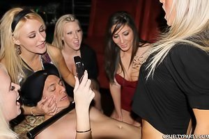 Party girls subtly humiliating the stripper while fucking him
