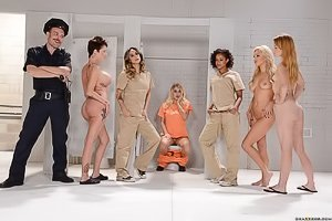 Jumpsuit-wearing lesbian hotties wind up in prison, they fuck like crazy
