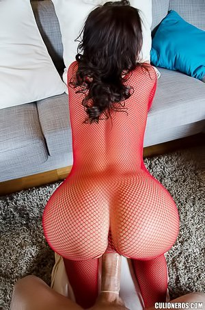 Fishnet bodysuit brunette gets her pussy pounded from behind in POV
