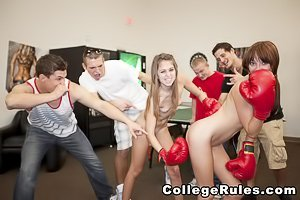 Sexed-up college kids enjoy their wild party/orgy in the play room