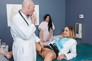 Blue-eyed and tatted-up doctor gets banged by her hung colleague