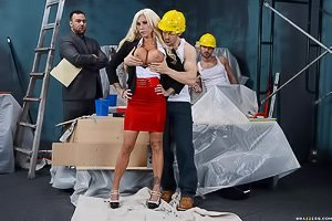 Blonde MILF takes off her tight red skirt and fucks a construction worker