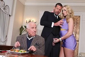 Wavy-haired blonde in purple fucking next to her ancient hubby