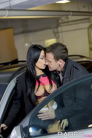 Busty brunette masturbating in her car, fucking a guy in a parking lot