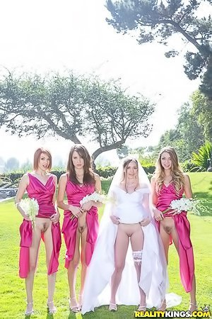 Baby-faced blond-haired wife gets banged by her horny bridesmaids