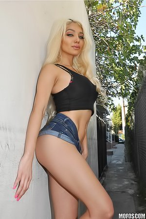 Blue-eyed blonde in tiny denim shorts gets her pussy destroyed