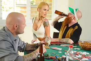 Tatted-up and braided MILF housewife gets banged over a pool table