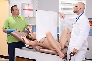 Redheaded and married MILF gets on her knees to suck the doctor's cock