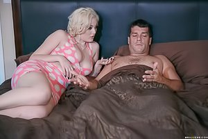 Thick blonde with short hair destroyed by a big-dicked, agressive dude