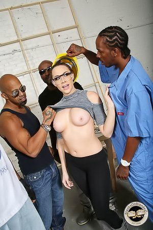 Tight pants brunette MILF gets gang-banged by hung black dudes