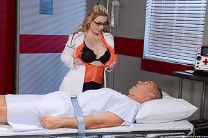 Glasses-wearing busty blonde doctor treating her patient's cock