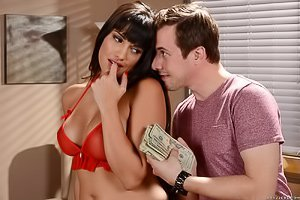 Red lingerie Latina with bangs gets banged by a wealthy younger dude