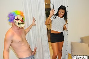 Scary clown with a stupid wig gets to fuck a tight Asian teen pussy