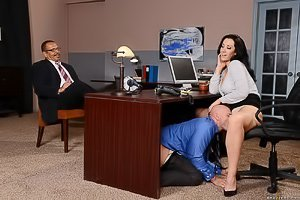 Tight black skirt brunette shows her ass and gets banged at the office