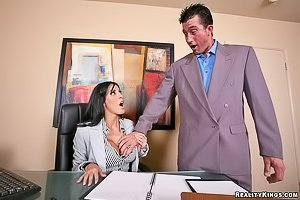 Busty and black-haired MILF gets fucked by her underpaid worker