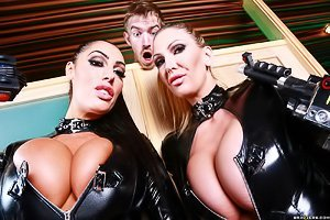 Latex-clad brunette and her MILF girlfriend getting banged by a dude
