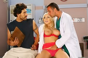 Red lingerie blond-haired hottie bangs a doctor instead of her date