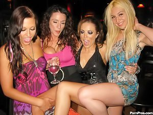 Twisted party girls stroking their stripper's cock and fucking him