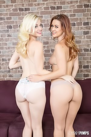Wavy-haired and pale blonde gets licked by her auburn-haired GF