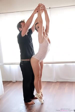 Big booty ballerina with a landing strip gets banged by her partner