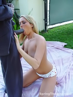 Tanned blonde with white panties getting banged by a hung black dude
