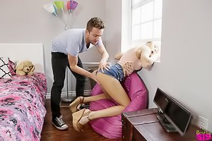 Skinny blonde with a really cute butt gets banged by her stepbrother