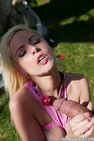 Blond-haired bombshell gets ballgagged and fucked brutally outdoors
