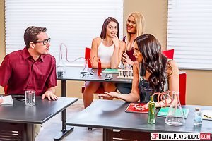 Red lingerie wavy-haired blonde and a busty brunette fuck a nerd