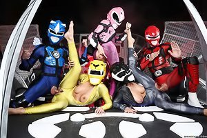 Power rangers spoof featuring several busty babes that love fucking