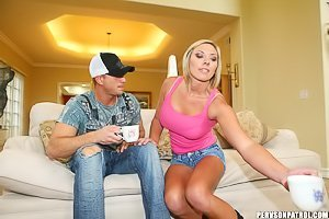 Pink top and denim shorts white trash blonde gets fucked on cam