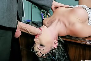 Wavy-haired brunette with blue streaks fucking a big-dicked dude at work