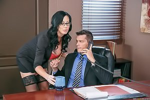 Stockings-clad brunette gets banged by her boss in his office