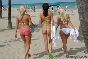 Neon green bikini brunette and her GFs end up fucking indoors